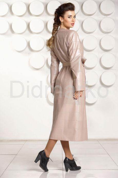 Светлое кожаное пальто ELIF. Фото 4.