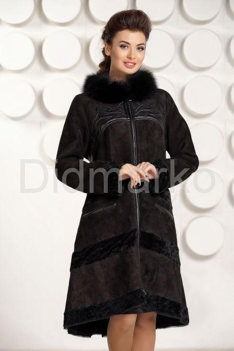 Дизайнерская дубленка черного цвета. Фото 2.