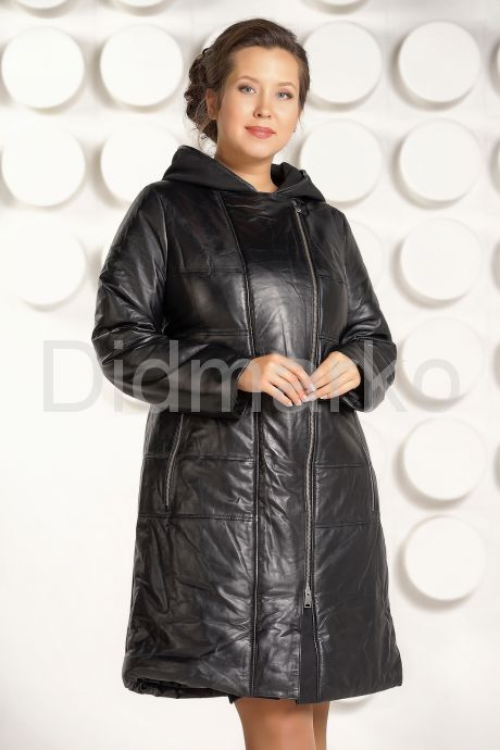 Кожаный пуховик больших размеров черный. Фото 2.