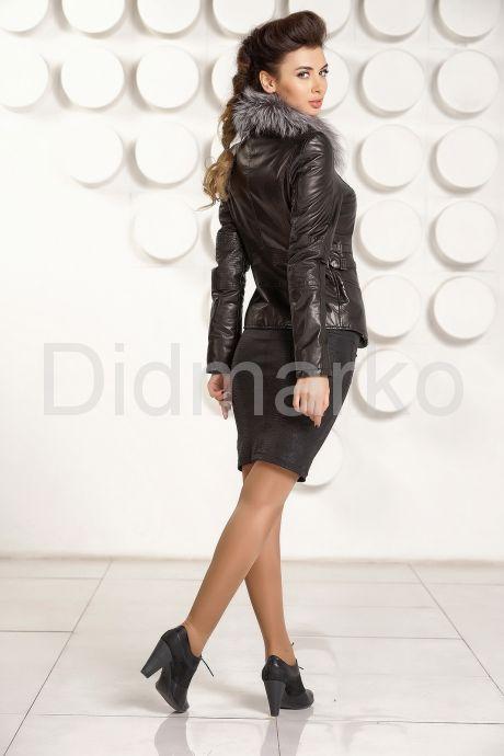 Черная кожаная куртка с мехом. Фото 4.