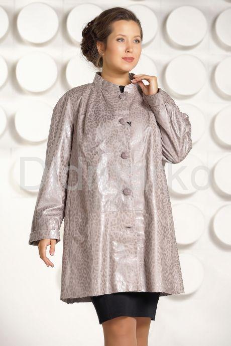 Трапециевидная кожаная куртка больших размеров. Фото 2.