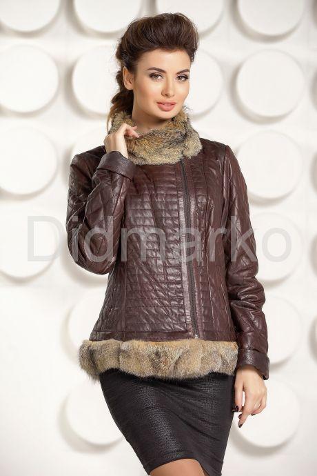 Кожаная куртка с мехом DMG58. Фото 2.