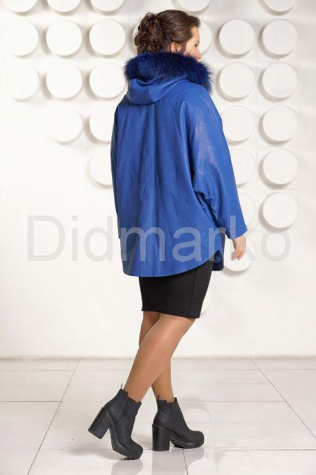 Зимняя кожаная куртка больших размеров цвета индиго. Фото 4.
