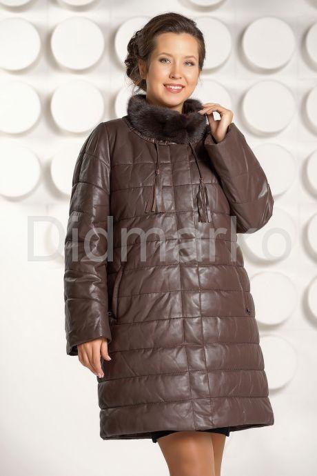 Классический кожаный пуховик больших размеров. Фото 3.