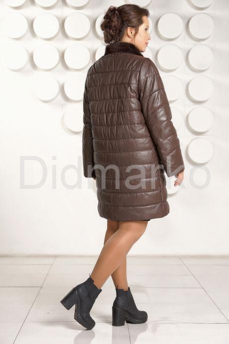 Классический кожаный пуховик больших размеров. Фото 4.