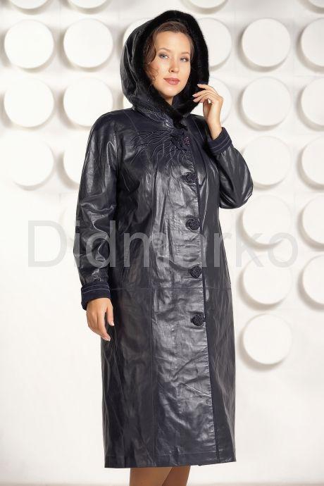 Кожаное пальто с капюшоном больших размеров. Фото 5.