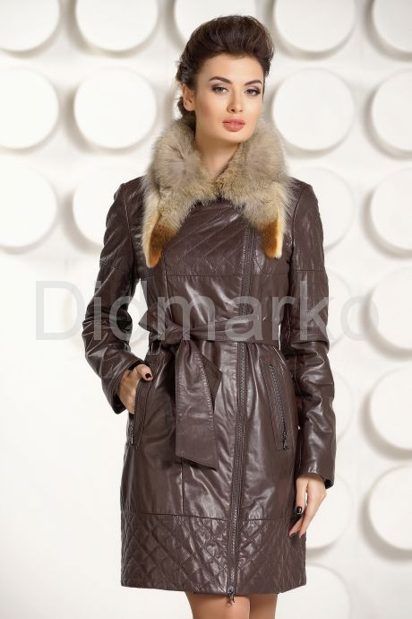 Кожаное пальто коричневого цвета. Фото 3.