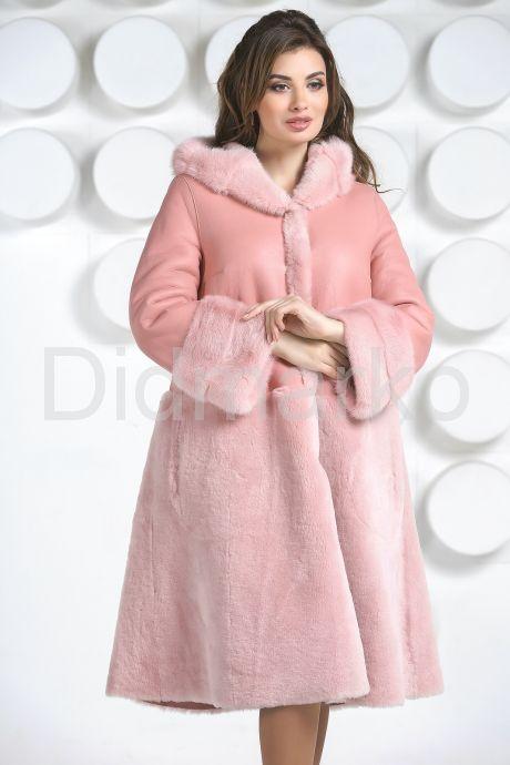 Розовая двусторонняя дубленка. Фото 4.