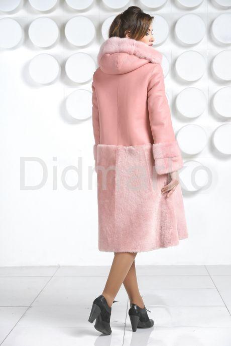 Розовая двусторонняя дубленка. Фото 6.