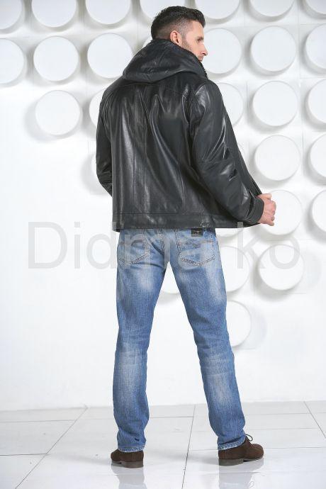 Мужская короткая дубленка синего цвета. Фото 4.