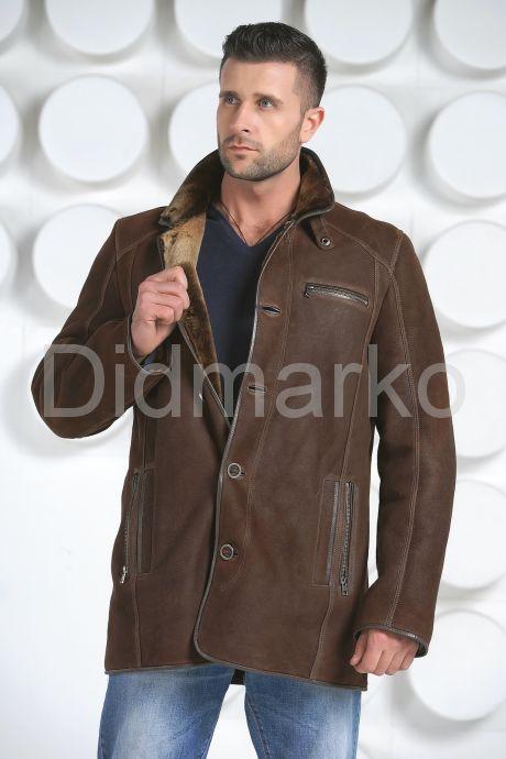Мужская дубленка коричневого цвета. Фото 2.