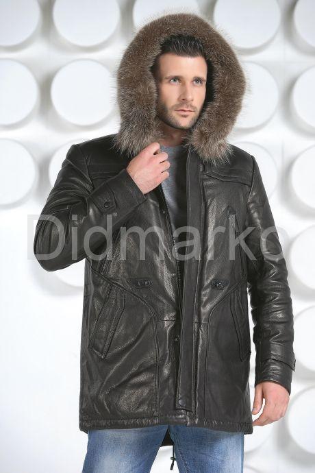 Мужская зимняя кожаная куртка черного цвета. Фото 3.