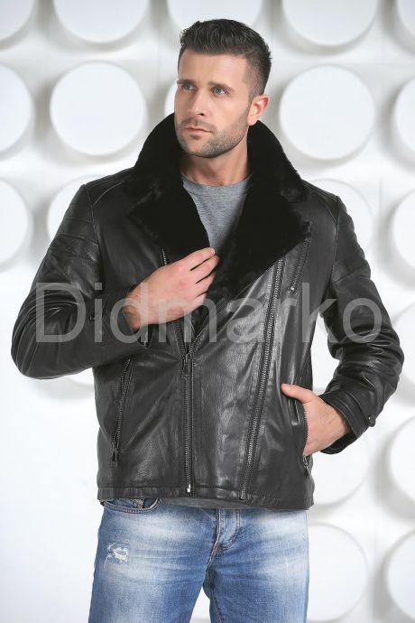 Мужской кожаный пуховик с косой молнией. Фото 2.