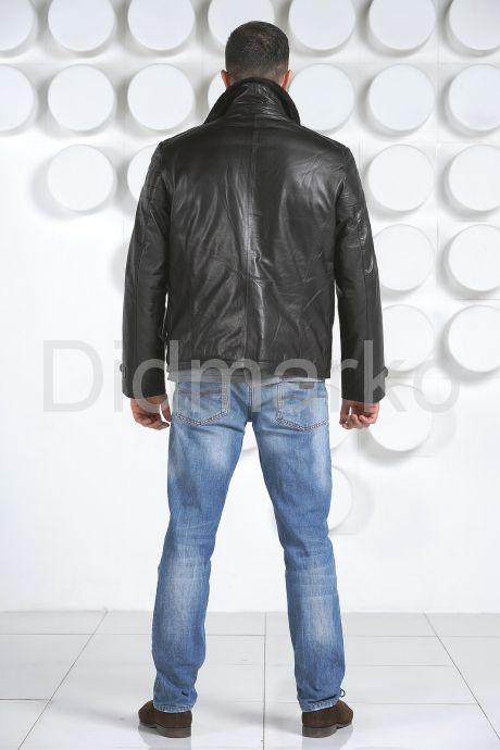 Мужской кожаный пуховик с косой молнией. Фото 4.