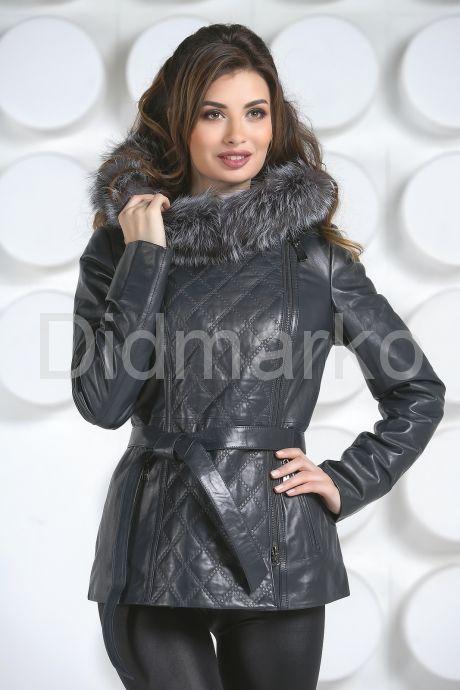 Удлиненная кожаная куртка синего цвета. Фото 2.