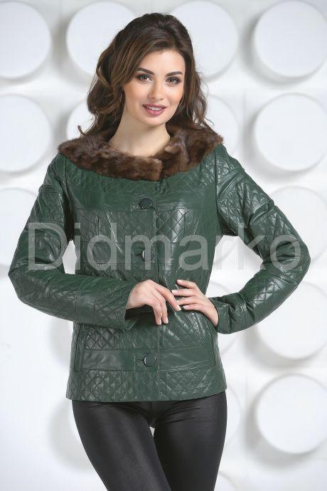Кожаная куртка с воротником из меха норки. Фото 4.