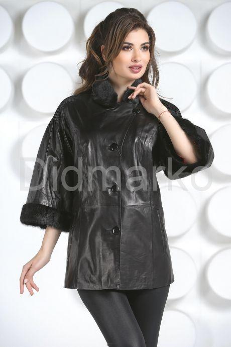 Кожаная куртка с укороченными рукавами. Фото 3.