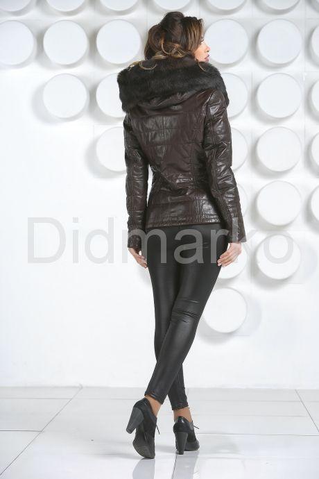 Укороченная женская куртка с мехом тоскана. Фото 4.