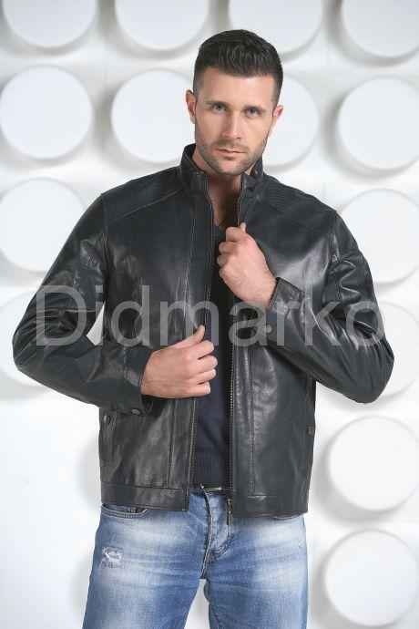 Мужская кожаная куртка синего цвета. Фото 3.