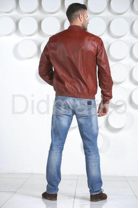 Мужская кожаная куртка на резинке. Фото 5.