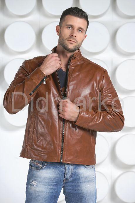 Мужская кожаная куртка рыжего цвета. Фото 2.