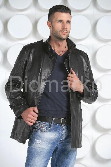 Мужская кожаная куртка на пуговицах. Фото 2.