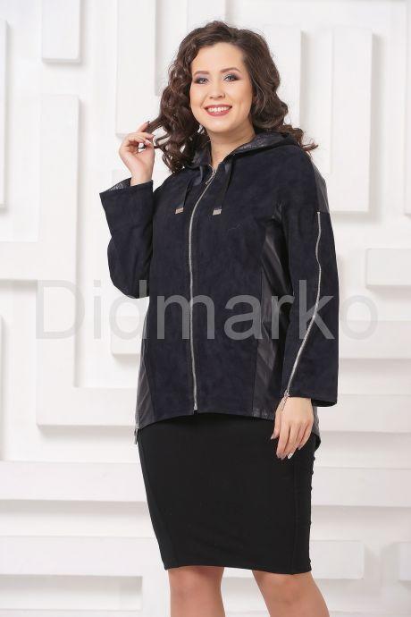 Удлиненная кожаная куртка синего цвета FS. Фото 9.