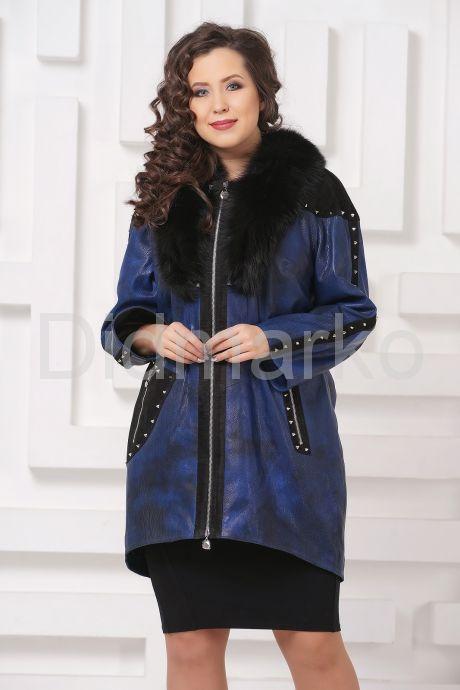 Модное кожаное пальто со съемным мехом. Фото 3.