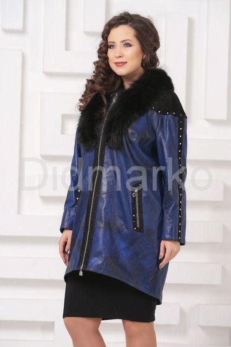 Модное кожаное пальто со съемным мехом. Фото 5.