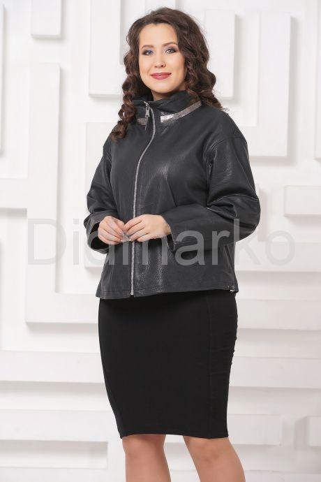 Женская кожаная куртка автоледи цвета берлинской лазури. Фото 4.