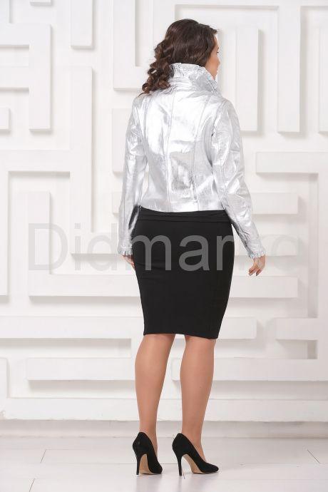 Серебристая кожаная куртка с рюшами. Фото 9.
