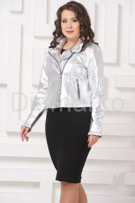 Серебристая кожаная куртка с рюшами. Фото 2.