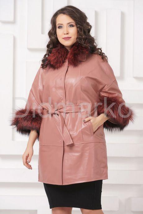 Красивое кожаное пальто цвета пудры. Фото 4.