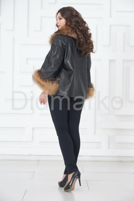 Кожаная куртка с мехом - автоледи. Фото 6.