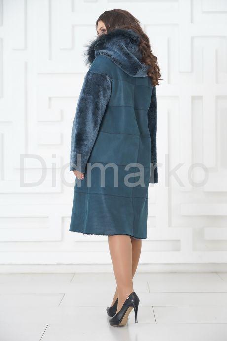 Синее двустороннее пальто из овчины. Фото 8.