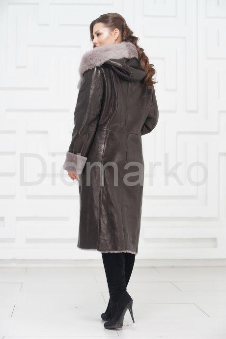 Зимнее пальто из овчины с капюшоном. Фото 2.