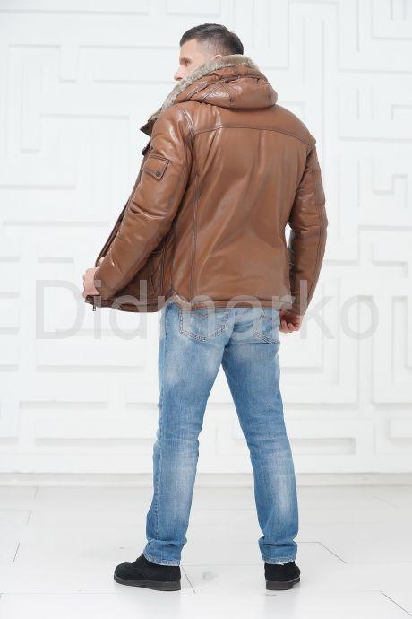Стильный кожаный пуховик. Фото 4.