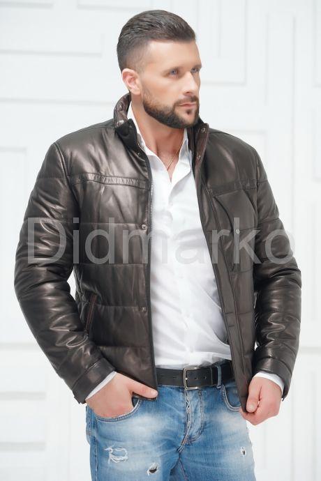 Утепленная мужская кожаная куртка. Фото 2.
