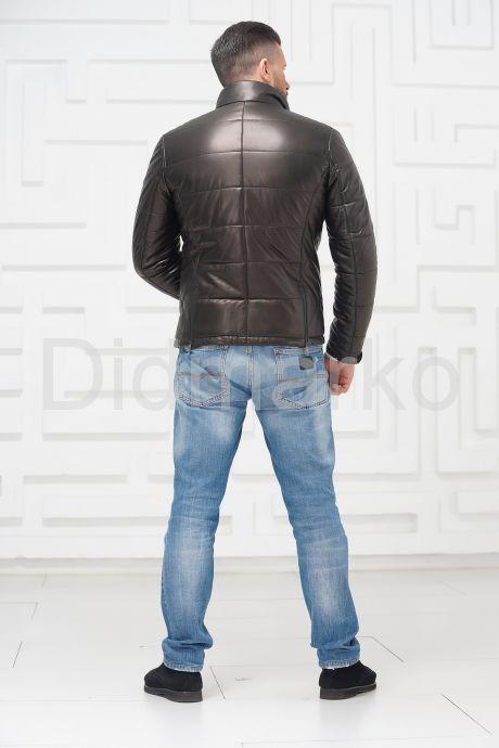 Утепленная мужская кожаная куртка, артикул DMN130