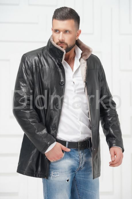 Мужская кожаная куртка на меху. Фото 2.