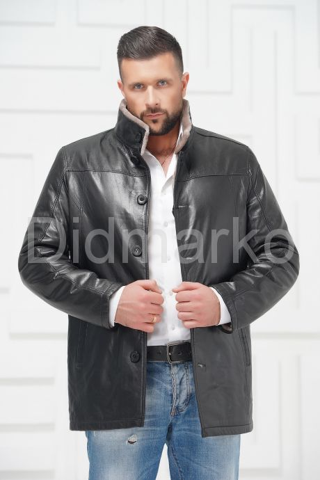 Мужская кожаная куртка на меху. Фото 3.