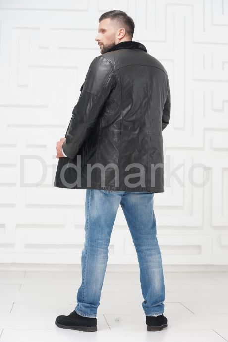 Мужская кожаная куртка на меху черного цвета. Фото 4.