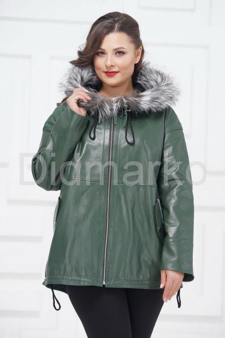 Кожаная куртка зеленого цвета с чернобуркой. Фото 2.