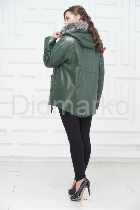 Кожаная куртка зеленого цвета с чернобуркой. Фото 4.