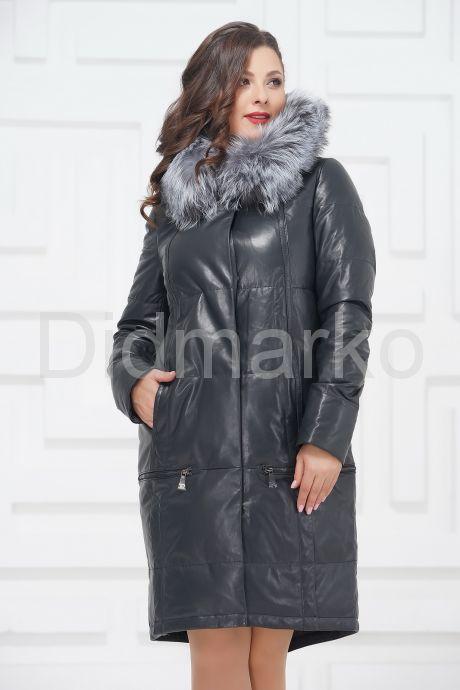 Зимнее кожаное пальто цвета берлинской лазури. Фото 3.