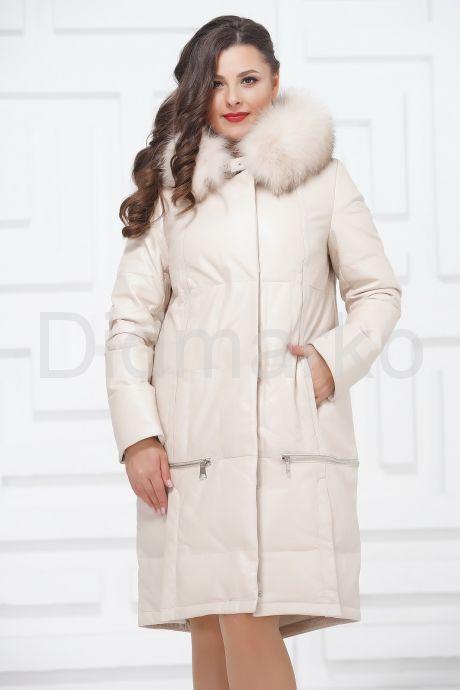 Зимнее кожаное пальто цвета слоновой кости. Фото 3.