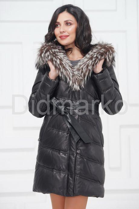Кожаное пальто с мехом чернобурки. Фото 2.