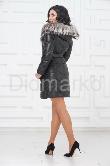 Кожаное пальто с мехом чернобурки. Фото 4.
