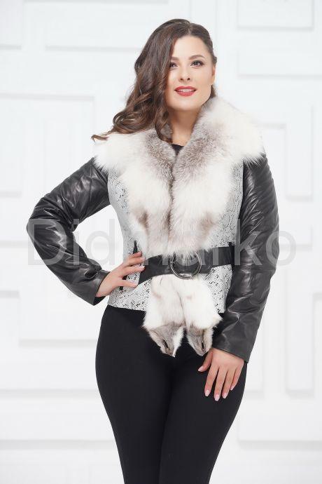 Комбинированная курточка с белым воротником. Фото 4.