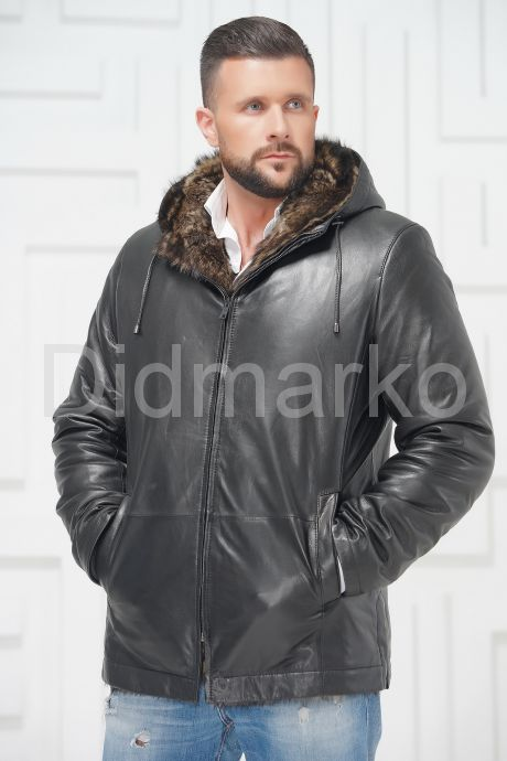 Зимняя кожаная куртка с не стриженным мехом тоскана. Фото 3.